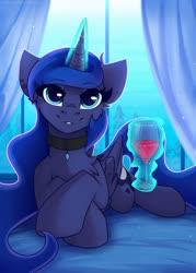 Size: 1250x1750 | Tagged: safe, artist:shadowreindeer, princess luna, alicorn, pony, cheek fluff, chest fluff, collar, cute, ear piercing, female, glass, glowing horn, horn, looking at you, lunabetes, magic, mare, piercing, prone, redraw, solo, telekinesis, wine glass