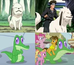 Size: 732x640 | Tagged: safe, edit, edited screencap, screencap, cheese sandwich, gummy, luster dawn, pinkie pie, the last problem, spoiler:s09e26, akamaru, comparison, naruto, obscure reference, older gummy