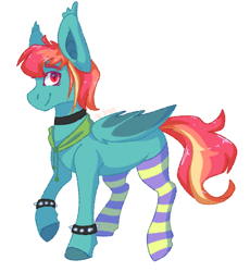 Size: 1106x1200 | Tagged: safe, artist:p-kicreations, oc, oc only, oc:rainbow screech, bat pony, pony, icey-verse, bat pony oc, bat wings, blank flank, choker, clothes, commission, female, hood, magical lesbian spawn, mare, multicolored hair, offspring, parent:evil pie hater dash, parent:flutterbat, parent:fluttershy, parent:rainbow dash, parents:flutterdash, parents:piehaterbat, raised hoof, simple background, socks, solo, spiked wristband, striped socks, transparent background, wings, wristband