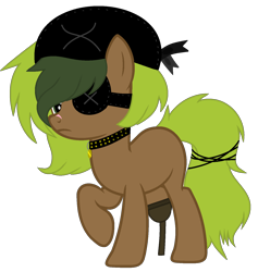 Size: 1486x1569 | Tagged: safe, artist:celestial-rue0w0, artist:pegasski, oc, oc only, oc:seaweed shores, earth pony, pony, amputee, bandana, blank flank, collar, commission, eyepatch, female, mare, peg leg, pirate, prosthetic leg, prosthetic limb, prosthetics, raised hoof, scar, simple background, solo, transparent background