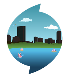 Size: 2252x2664 | Tagged: safe, artist:purpletinker, pinkie pie, rainbow dash, earth pony, pegasus, pony, boston, city, cityscape, hub logo, sailboat, simple background, skyline, transparent background, water
