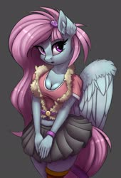 Size: 1828x2696 | Tagged: safe, artist:pony-way, kerfuffle, anthro, pegasus, rainbow roadtrip, arm band, beautiful, busty kerfuffle, clothes, cute, ear fluff, female, fufflebetes, gray background, looking at you, mare, midriff, miniskirt, moe, pincushion, pleated skirt, simple background, skirt, solo, vest