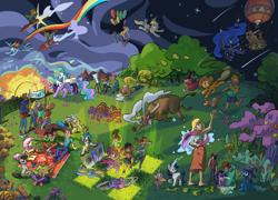 Size: 1920x1381   Tagged: safe, artist:leavingcrow, applejack, derpy hooves, discord, dj pon-3, fluttershy, octavia melody, pinkie pie, princess celestia, princess luna, rainbow dash, rarity, spike, starlight glimmer, trixie, twilight sparkle, vinyl scratch, winona, alicorn, bull, dragon, earth pony, human, pegasus, pony, unicorn, basket, bipedal, converse, dancing, easel, fireworks, guitar, hot air balloon, lasso, mane seven, mane six, mouth hold, musical instrument, picnic, picnic basket, picnic blanket, rope, shoes, tribute, twilight sparkle (alicorn)