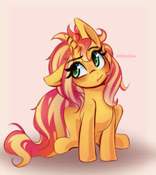 Size: 3400x3800   Tagged: safe, artist:katakiuchi4u, sunset shimmer, pony, unicorn, :t, cute, ear down, female, floppy ears, freckles, high res, mare, messy mane, peppered bacon, shimmerbetes, sitting, solo