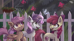 Size: 4000x2234   Tagged: safe, artist:amy-gamy, apple bloom, scootaloo, sweetie belle, butterfly, cat, earth pony, pegasus, pony, unicorn, bow, bush, chest fluff, crystal, crystallized, cute, cutie mark crusaders, ear fluff, female, fence, filly, hair bow, high res, leg fluff, looking at something, open mouth