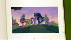 Size: 1666x940 | Tagged: safe, screencap, applejack, fluttershy, pinkie pie, rainbow dash, rarity, spike, twilight sparkle, alicorn, the last problem, spoiler:s09e26, book of harmony, cropped, crown, flying, group, jewelry, mane seven, mane six, older, older applejack, older fluttershy, older mane 6, older mane 7, older pinkie pie, older rainbow dash, older rarity, older spike, older twilight, peytral, picture, princess twilight 2.0, regalia, the end, twilight sparkle (alicorn)