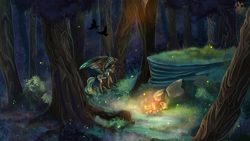 Size: 1600x900 | Tagged: safe, artist:iimd, oc, oc only, oc:alpine apotheon, firefly (insect), insect, pegasus, body markings, commission, feathered mane, forest, lantern, scenery, scenery porn, smiling, wallpaper