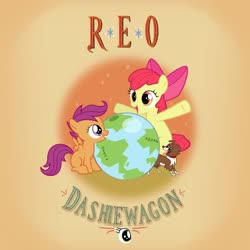 Size: 1024x1024 | Tagged: safe, artist:baumkuchenpony, artist:grapefruitface1, artist:moongazeponies, artist:tamalesyatole, apple bloom, scootaloo, winona, dog, pony, album cover, cutie mark crusaders, earth, globe, ponified, ponified album cover, reo speedwagon
