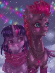 Size: 1200x1600 | Tagged: safe, artist:coconuthound, fizzlepop berrytwist, tempest shadow, twilight sparkle, blushing, broken horn, christmas, christmas lights, clothes, cute, eye scar, female, hearth's warming eve, holiday, horn, hug, jewelry, lesbian, necklace, scar, scarf, shipping, signature, smiling, snow, tempestlight, twiabetes, winghug, winter