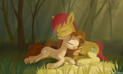 Size: 2300x1400 | Tagged: safe, artist:emeraldgalaxy, bright mac, pear butter, earth pony, pony, the perfect pear, brightbutter, digital art, duo, eyes closed, female, grass, male, mare, prone, resting, scenery, shipping, stallion, straight, tree