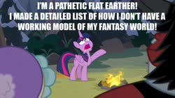 Size: 1280x720 | Tagged: safe, artist:jarrahwhite, edit, edited screencap, screencap, cozy glow, lord tirek, queen chrysalis, twilight sparkle, frenemies (episode), spoiler:s09e08, caption, disguise, disguised changeling, flat earth, image macro, meme, text, the pathetic princess thing