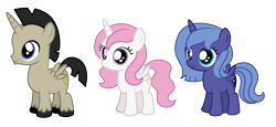 Size: 4721x2179   Tagged: safe, artist:aleximusprime, discord, princess celestia, princess luna, alicorn, flurry heart's story, accord (alicorn), age of the alicorns, age regression, age spell, aged down, children, colt, cute, discute, female, filly, filly celestia, filly luna, foal, male, pink hair celestia, s1 luna, show accurate, simple background, transparent background, woona, young, young discord, younger