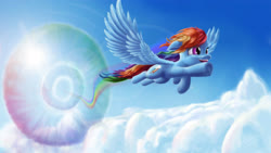 Size: 4622x2600 | Tagged: safe, artist:asloric, rainbow dash, pegasus, pony, cloud, cool, cute, dashabetes, female, happy, lens flare, mare, rainbow trail, smiling, solo, sonic rainboom, spread wings, sun, wings