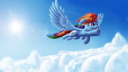 Size: 4622x2600 | Tagged: safe, alternate version, artist:asloric, rainbow dash, pegasus, pony, cloud, cute, dashabetes, female, happy, lens flare, mare, smiling, solo, spread wings, sun, wings