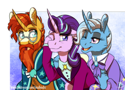 Size: 1386x996 | Tagged: safe, artist:inuhoshi-to-darkpen, starlight glimmer, sunburst, trixie, pony, unicorn, the last problem, beard, chest fluff, cute, ear fluff, facial hair, glasses, moustache, older, older starlight glimmer, older sunburst, older trixie, one eye closed, open mouth, pinkie promise, sunburst the bearded, wink