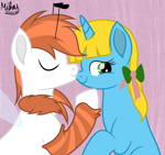 Size: 3057x2881 | Tagged: safe, artist:mihaynoms, oc, oc only, oc:manubee, oc:sunshine denom, bee pony, original species, pony, birthday, cute, kissing, movie accurate, nosekiss, shipping, simple background