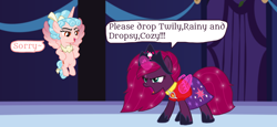 Size: 2340x1080 | Tagged: safe, artist:徐詩珮, cozy glow, fizzlepop berrytwist, tempest shadow, alicorn, unicorn, series:sprglitemplight diary, series:sprglitemplight life jacket days, series:springshadowdrops diary, series:springshadowdrops life jacket days, the ending of the end, spoiler:s09e24, spoiler:s09e25, alicornified, alternate universe, angry, base used, broken horn, clothes, cozycorn, cute, dialogue, female, horn, implied glitter drops, implied glitterlight, implied glittershadow, implied lesbian, implied polyamory, implied shipping, implied sprglitemplight, implied spring rain, implied springdrops, implied springlight, implied springshadow, implied springshadowdrops, implied tempestlight, implied twilight sparkle, marshall (paw patrol), paw patrol, race swap, tempestbetes