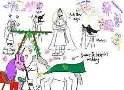 Size: 979x718 | Tagged: safe, artist:horsesplease, applejack, cheese sandwich, fluttershy, pinkie pie, princess cadance, rainbow dash, rarity, raven, shining armor, twilight sparkle, oc, oc:ang yeung, oc:pjalariz, alicorn, human, camera, cheesepie, female, god, halo, huginn, male, mane six, marriage, muninn, norse mythology, odin, rabydosverse, shiningcadance, shipper on deck, shipping, sleipnir, straight, wedding