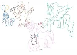 Size: 1280x915 | Tagged: safe, artist:horsesplease, princess celestia, trouble shoes, airhorn, bottle, bucket, derp, doggie favor, drunk, drunken shoes, drunklestia, invisible pink unicorn, stupid, trollestia, yelling