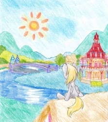Size: 2600x2925 | Tagged: safe, artist:michiito, derpy hooves, pegasus, pony, bridge, colored pencil drawing, female, mare, part of a set, ponyville, ponyville town hall, rear view, river, scenery, sitting, solo, sun, traditional art