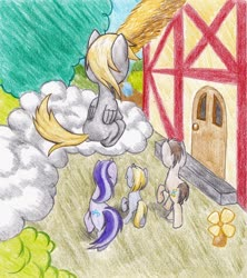 Size: 1200x1350 | Tagged: safe, artist:michiito, part of a set, amethyst star, derpy hooves, dinky hooves, doctor whooves, sparkler, time turner, earth pony, pegasus, pony, unicorn, cloud, colored pencil drawing, female, filly, male, mare, on a cloud, ponyville, rear view, sitting, sitting on cloud, stallion, traditional art, walking