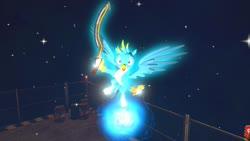 Size: 1280x720 | Tagged: safe, artist:horsesplease, gallus, 3d, angel, angry, glow, gmod, happy, khopesh, magic, sword, weapon