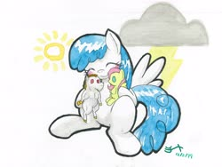 Size: 4000x3000 | Tagged: safe, artist:michiito, bulk biceps, fluttershy, lightning bolt, white lightning, pegasus, pony, eyes closed, implied flutterbulk, shipper on deck, smiling, solo, toy, traditional art, watercolor painting