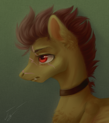 Size: 1154x1300 | Tagged: safe, artist:гусь, oc, pegasus, choker, emotionless, fangs, male, red eyes, scar, simple background, solo, stallion