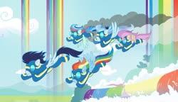 Size: 1024x589 | Tagged: safe, artist:velveagicsentryyt, rainbow dash, soarin', oc, oc:fries, oc:prisdale, oc:rainbow blitzes, pegasus, pony, base used, clothes, cloud, deviantart watermark, female, flying, male, mare, obtrusive watermark, offspring, parent:rainbow dash, parent:rumble, parent:scootaloo, parent:soarin', parents:rumbloo, parents:soarindash, rainbow waterfall, stallion, uniform, watermark, wonderbolts uniform