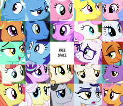 Size: 2025x1746 | Tagged: safe, artist:jaredking203, amethyst star, citrus blush, clear sky, firelight, jack pot, jet set, lemon hearts, lily lace, lyra heartstrings, minuette, moonlight raven, night light, pretzel twist, rainbow stars, rarity, raspberry latte, royal ribbon, saffron masala, sparkler, starlight glimmer, stellar flare, sweet biscuit, trixie, twinkleshine, pony, unicorn, background pony, bingo, female, male, mare, medallion gold, stallion
