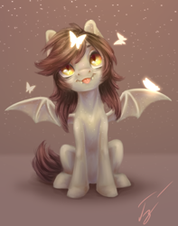 Size: 3000x3800 | Tagged: safe, artist:гусь, oc, oc only, bat pony, butterfly, bat pony oc, bat wings, fangs, female, looking up, mare, simple background, sitting, slit eyes, slit pupils, smiling, snow, snowfall, solo, tongue out, wings
