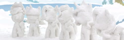 Size: 3322x1080 | Tagged: safe, screencap, applejack, fluttershy, pinkie pie, princess celestia, rarity, twilight sparkle, my little pony: pony life, snow pony contest (short), no pony, outdoors, panorama, snow, snow pony, snow sculpture, solo, stop motion