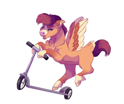 Size: 1900x1600 | Tagged: safe, artist:uunicornicc, scootaloo, pony, colored wings, multicolored wings, scooter, simple background, solo, white background, wings