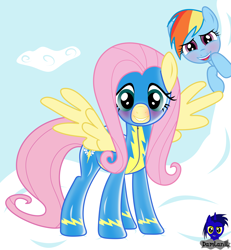 Size: 3840x4154 | Tagged: safe, artist:damlanil, fluttershy, rainbow dash, pegasus, pony, blushing, clothes, duo, female, latex, latex suit, lip bite, looking at you, mare, rubber, shiny, spread wings, spying, uniform, wings, wonderbolts, wonderbolts uniform, wondershy
