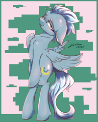 Size: 4000x5000 | Tagged: safe, artist:galinn-arts, fleetfoot, pegasus, pony, abstract background, bedroom eyes, bipedal, commission, female, mare, signature