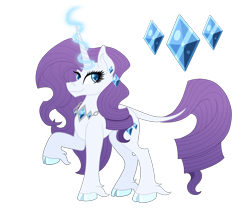 Size: 2422x2172 | Tagged: safe, artist:musical-medic, rarity, pony, unicorn, cloven hooves, cutie mark, ear piercing, earring, female, g5, g5 concept leak style, hooves, jewelry, leonine tail, magic, magic aura, mare, necklace, piercing, raised hoof, rarity (g5), redesign, simple background, solo, transparent background