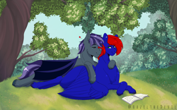 Size: 2560x1600   Tagged: safe, artist:hazelthedevil, oc, oc only, oc:night, oc:shrapnel, bat pony, pegasus, book, cuddling, ear piercing, forest background, hearts and hooves day, outdoors, piercing