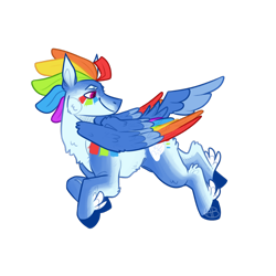 Size: 1280x1280 | Tagged: safe, artist:acidicbarkbeast, rainbow dash, pegasus, pony, colored wings, female, flying, hooves, mare, multicolored wings, rainbow wings, simple background, smiling, solo, transparent background, wings