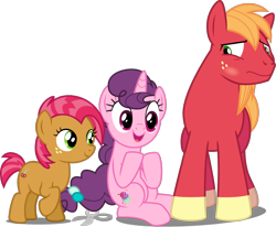 Size: 1534x1266   Tagged: safe, artist:austiniousi, artist:j-pinkie, artist:jeatz-axl, artist:tomfraggle, edit, editor:slayerbvc, vector edit, babs seed, big macintosh, sugar belle, earth pony, unicorn, blushing, cousins, embarrassed, female, filly, looking down, male, mare, missing accessory, raised hoof, scissors, shipping, shorn fetlocks, simple background, sitting, smiling, stallion, straight, sugarmac, transparent background, vector