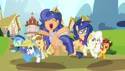 Size: 1024x586 | Tagged: safe, artist:galaxyswirlsyt, artist:velveagicsentryyt, oc, oc:apple pie, oc:destiny, oc:galaxy swirls, oc:party pie, oc:rainbow blitzes, oc:sky city, oc:velvet sentry, earth pony, hybrid, pegasus, pony, unicorn, base used, deviantart watermark, female, heterochromia, interspecies offspring, magic, mare, obtrusive watermark, offspring, parent:applejack, parent:caramel, parent:cheese sandwich, parent:discord, parent:fancypants, parent:flash sentry, parent:fluttershy, parent:pinkie pie, parent:rainbow dash, parent:rarity, parent:soarin', parent:twilight sparkle, parents:carajack, parents:cheesepie, parents:discoshy, parents:flashlight, parents:raripants, parents:soarindash, watermark
