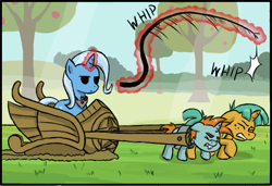 Size: 671x458 | Tagged: safe, artist:crimsonbugeye, edit, snails, snips, trixie, pony, unicorn, magic duel, amulet, bucktooth, bullwhip, chariot, cropped, don't trust wheels, eyes closed, femal, female, foal, glowing horn, harness, horn, jewelry, magic, magic abuse, magic aura, male, mare, pulling, slavery, straining, tack, telekinesis, tree, whip, whipping