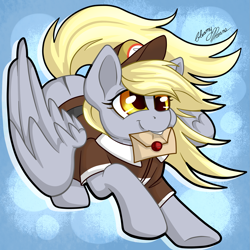 Size: 2235x2237 | Tagged: safe, artist:gleamydreams, derpy hooves, pegasus, pony, blonde, clothes, cute, derpabetes, female, hat, letter, mail, mailmare, mare, solo, super smash bros., wings