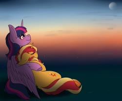 Size: 4096x3384   Tagged: safe, artist:celestialoddity, sunset shimmer, twilight sparkle, alicorn, pony, unicorn, colored hooves, cuddling, female, lesbian, mare, shipping, sleeping, sunset, sunsetsparkle, twilight sparkle (alicorn)