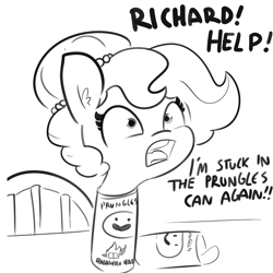 Size: 2250x2250 | Tagged: safe, artist:tjpones, oc, oc only, oc:brownie bun, earth pony, pony, horse wife, adorable distress, black and white, cartoon physics, chips, cute, dialogue, female, food, grayscale, how, if i fits i sits, jewelry, lawyer-friendly names, mare, monochrome, necklace, open mouth, pearl necklace, potato chips, pringles, silly, silly pony, solo, stuck