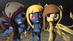 Size: 1920x1080 | Tagged: safe, artist:stormypwn, oc, oc:pietas lazuli, oc:skye chaser, oc:symphony, pegasus, sphinx, 3d, ankh, blue skin, brown hair, freckles, looking at you, pegasus oc, red eyes, smiley face, smiling, source filmmaker, sphinx oc, tongue out, wings, yellow hair, yellow skin