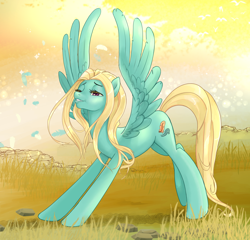 Size: 1900x1821 | Tagged: safe, artist:pencils, zephyr breeze, pegasus, pony, alternate hairstyle, girly, iwtcird, lidded eyes, loose hair, male, solo, spread wings, stallion, stretching, stupid sexy zephyr breeze, trap, wings