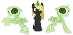 Size: 2021x967 | Tagged: safe, artist:frownfactory, oc, oc:desert night, skeleton pony, undead, unicorn, .svg available, ankh, blonde mane, bone, clothes, ear piercing, earring, female, horn, jewelry, magic, mare, piercing, simple background, skeleton, skirt, svg, transparent background, vector