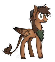 Size: 1271x1426 | Tagged: safe, artist:modocrisma, oc, oc only, oc:mitchel (ponyinsocks), classical hippogriff, griffon, hippogriff, hybrid, pegasus, pony, bandana, beanie, clothes, cloven hooves, commission, ear piercing, earring, hat, jewelry, looking at you, male, no pupils, piercing, sideburns, simple background, smiling, solo, stallion, standing, transgender, tumblr, watermark, white background