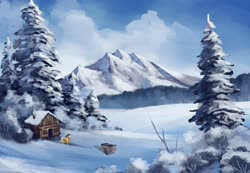 Size: 2560x1772 | Tagged: safe, artist:anticular, applejack, earth pony, pony, cabin, cart, female, mare, mountain, scenery, snow, solo, tree, winter