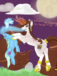 Size: 960x1280 | Tagged: safe, artist:-censored-, oc, oc only, oc:sacred heart, pony, unicorn, braid, cloud, duo, female, frog (hoof), full moon, glowing horn, gravestone, hoof shoes, horn, mare, moon, night, soul vore, speech, underhoof, unicorn oc, vore